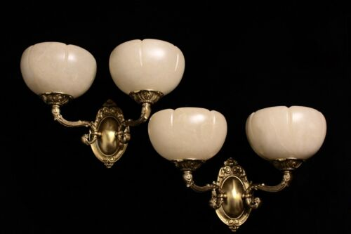 Alabaster wall lights sconces solid  double arms bronze by europeanlighting