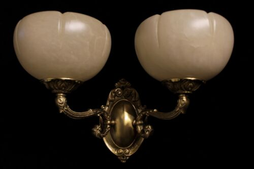 Single alabaster wall light  sconce solid  double arms bronze