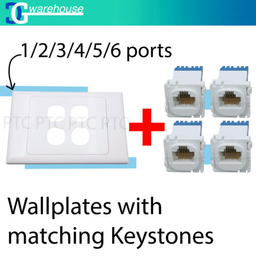 1/2/3/4/5/6 Gang wallplate /CAT6 RJ45 Network LAN Data Jack Mech Insert Clipsal