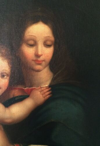 18th C Antique Madonna & Child Old Master Oil Painting
