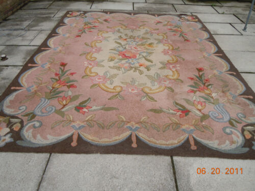 1920's RARE PINK Antique FLORAL TULIP European Rug~ FRENCH RIBBONS & BOWS!