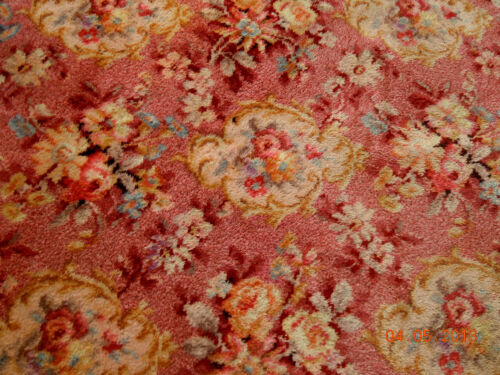1930s~RARE~ ALEXANDER SMITH 9' x 12'6' FLORAL ROSE MEDALLION PINK WOOL RUG