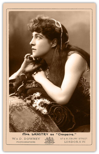 LILLIE LANGTRY Actress Legend as CLEOPATRA 2 Photograph Cabinet Card Vintage RP