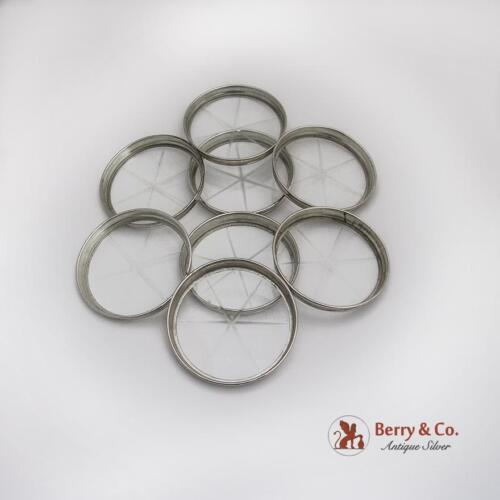 Vintage 8 Small Round Coasters Set Cut Glass Sterling Rim 1940