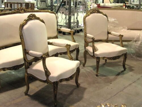 20th Century Fine Gilded Ornate Italian Rococo Revival Settee Canapé and Chairs