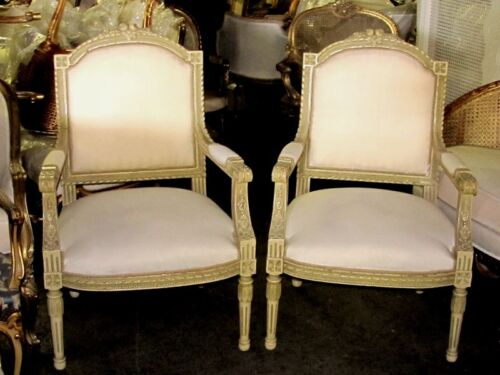 Polychrome French Louis XVI Fauteuils Barbola Roses & Ribbons Chairs