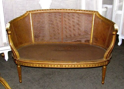 19th Century French Louis XVI Cane Caned Settee Sofa Canapé