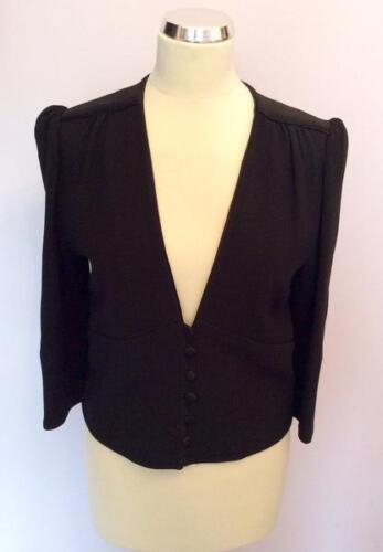 TEMPERLEY BLACK WITH BOW TRIM FITTED JACKET SIZE 10