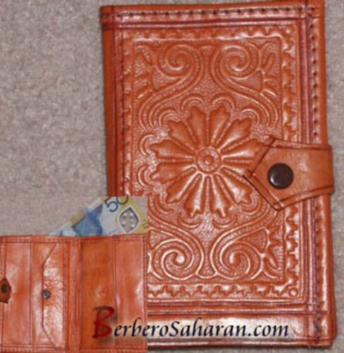 Handmade decorated genuine leather wallet from Algeria - Similar to Moroccan #1