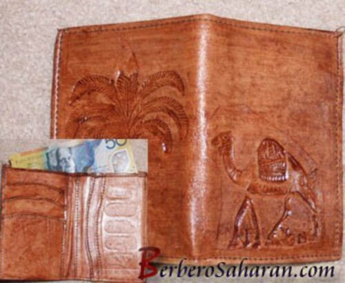 Handmade Tuareg pure and genuine leather wallet from Sahara desert of Algeria