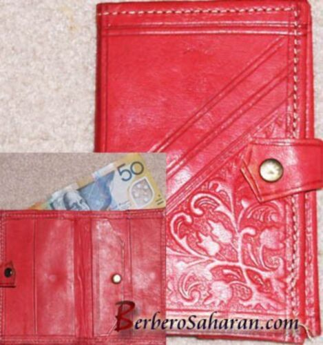 Handmade decorated genuine leather wallet from Algeria/Morocco