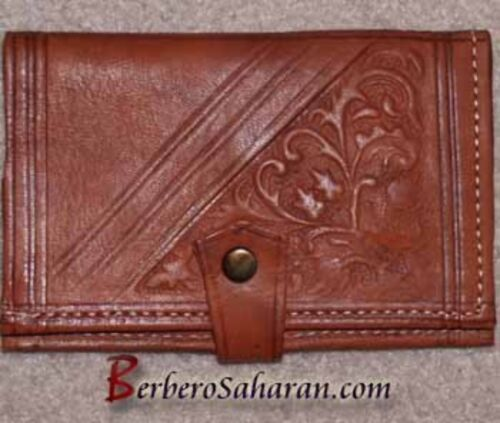 Handmade decorated genuine leather wallet from Algeria - Similar to Moroccan #2