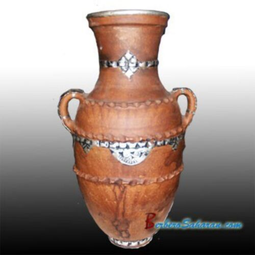 Large antique Handmade Berber Jar from Morocco made with Clay and Metal