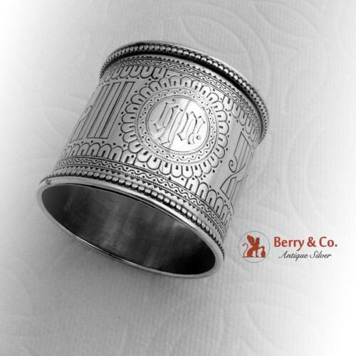Russian Engraved Napkin Ring Beaded Rims 84 Standard Silver 1895