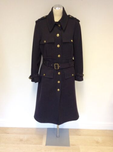 MULBERRY DARK BLUE MILITARY STYLE BELTED COAT SIZE 10
