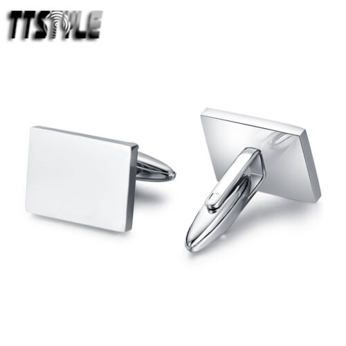 Quality TTstyle Silver Plain Rectangle Stainless Steel Cufflink NEW
