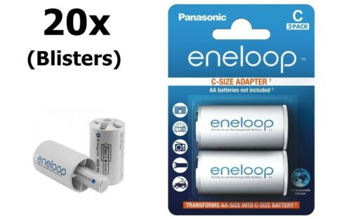 AU BS142-20x Panasonic Eneloop Adapter AA R6 to Baby C 20x Blisters