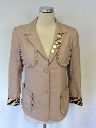 MULBERRY NUDE/BLUSH WOOL & CASHMERE WITH SILK PRINT LINED SLEEVE JACKET SIZE 8