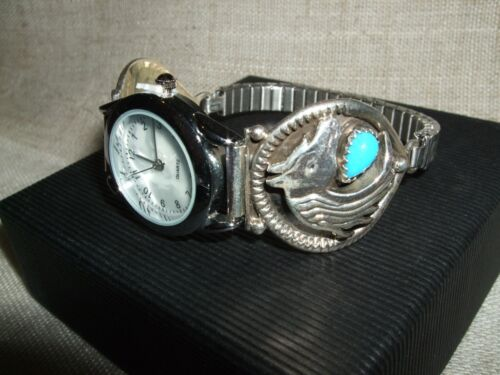 OROLOGIO WATCH NAVAJO NATIVE TURCHESE TURQUOISE CAVALLO INDIANER UHR ARGENTO 925