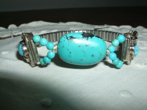 BRACCIALE NAVAJO NATIVE TURCHESE TURQUOISE INDIANER 18 CM ARGENTO 925 NATIVE