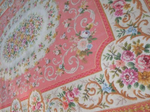 PINK Axminister Wool Rug~BEST French Floral Bouquets,Carotouches & Scrolls