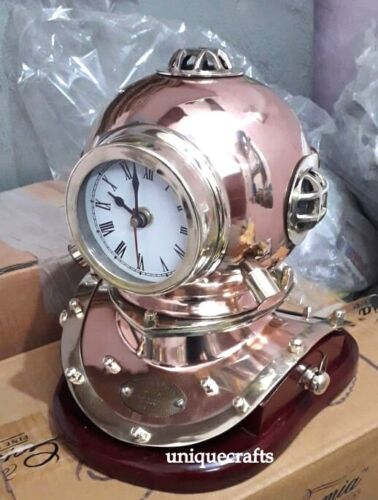 Copper & Brass Divers Helmet Type Clock With Wooden Base Antique Gift.