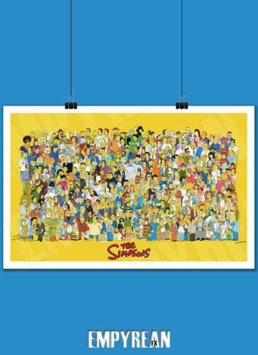 The Simpsons Characters Of Springfield Poster 90's Bart Simpson Art Print