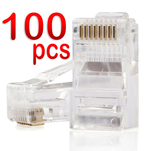 RJ45 Connector CAT6 Plug Crimp 8P8C CAT5e Network Ethernet Cable Modular 100pcs