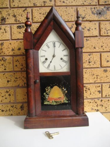 Antique 1840s Jerome & Co Steeple Gothic Mechanical Striking Mantle Clock