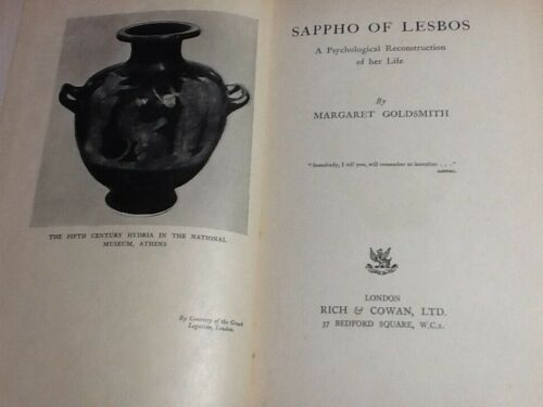 1938 SAPPHO OF LESBOS A PSYCHOLOGICAL RECONSTRUCTION OF HER LIFE - 1ª EDIZIONE