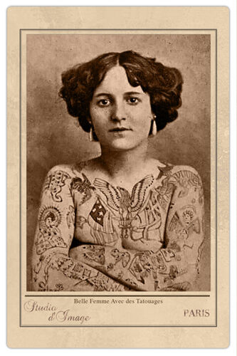 TATTOOED LADY FRANCE ca1907 Vintage Photograph Cabinet Card RP Tattoo