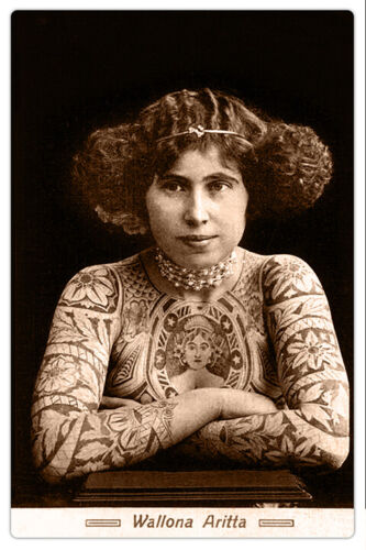 WALLONA ARITTA Australian Tattooed Woman Vintage Photo Cabinet Card RP Tattoo