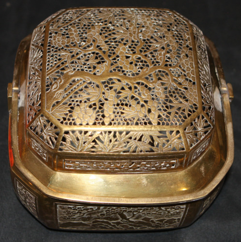 Exceptional Chinese Handwarmer With Extensive Pierced Prunus And Bamboo