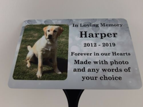 Pet Dog Memorial Plaque Photo Personalised Grave Marker Sign Cat Ground Stake