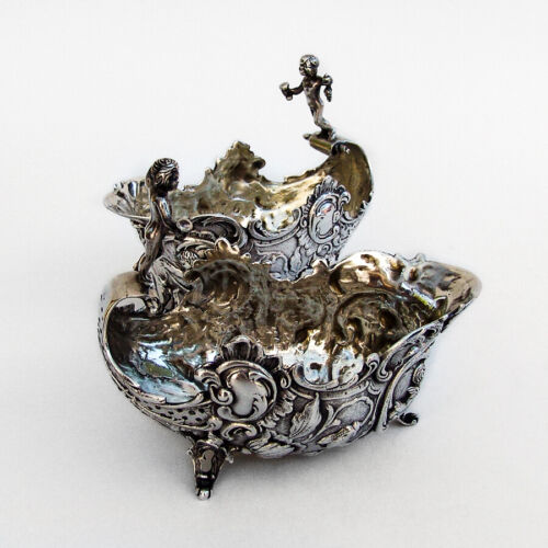 Figural Dishes Bowls 2 Ornate Baroque Designs 800 Silver