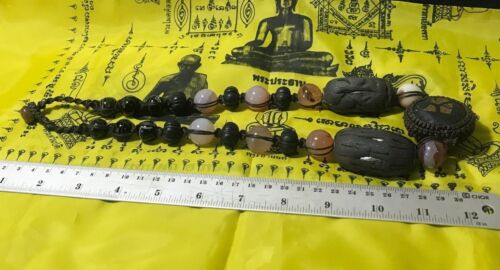 THAI AMULET NECKLACE STONES BUDDHIST AMAZING HEALING HANDMADE LUCK LEKLAI MAGIC