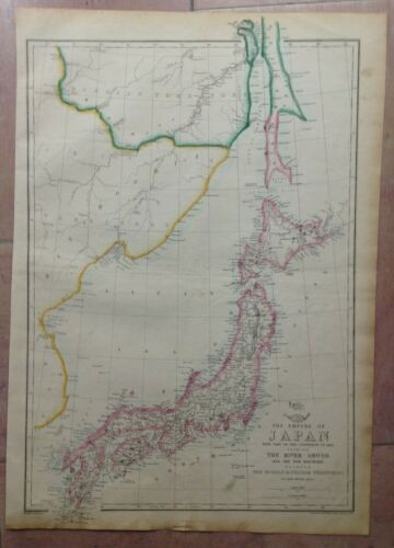 IMPERIAL JAPAN 1863 by ED WELLER LARGE DETAILED ANTIQUE ENGRAVED MAP 19e CENTURY
