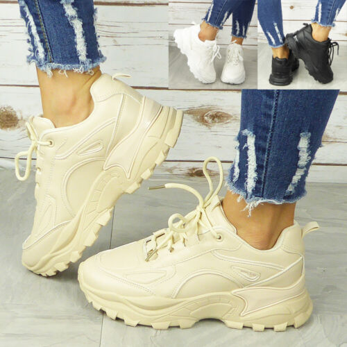 Women Chunky Trainer Ladies Lace Up Goth Punk Running Gym High Top Sneaker Boots