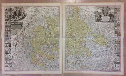 GERMANY DUCHY WURTEMBERG JB HOMANN 1730 2 ANTIQUE MAPS TO JOIN (105 X 63 CM)