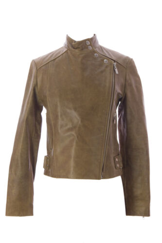DOMA by Luciano Abitboul Kiwi Side Zip Leather Moto Jacket 1181 NEW