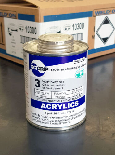 SCI GRIP WELD ON #3 Water-Thin Clear Acrylic Cement 473ml tin made in U.S.A.
