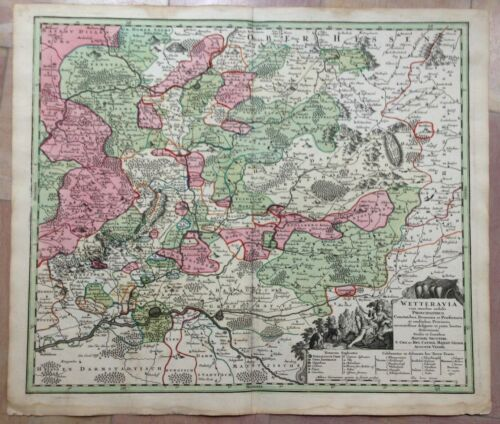 GERMANY WETTERAU HESSE MATHEUS SEUTTER 1740 LARGE ANTIQUE ENGRAVED MAP