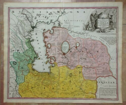 UZBEKISTAN CASPIAN SEA by MAAS & HOMANN HRS 1735 LARGE ANTIQUE MAP 18e CENTURY