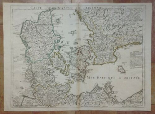 DENMARK DATED 1780 GUILLAUME DE L'ISLE LARGE ANTIQUE ENGRAVED MAP 18e CENTURY
