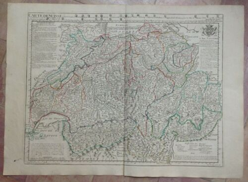 SWISS DATED 1780 XVIIIe CENTURY GUILLAUME DELISLE LARGE ANTIQUE ENGRAVED MAP
