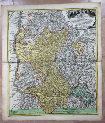 GERMANY SOUTHWEST BRISCOIA JB HOMANN DATED 1718 LARGE ANTIQUE ENGRAVED MAP