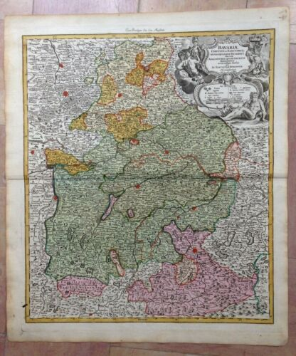 GERMANY BAVARIA JB HOMANN 1720 18e CENTURY LARGE NICE ANTIQUE ENGRAVED MAP
