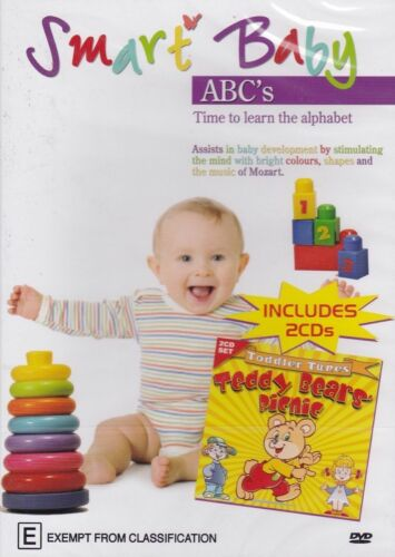 SMART BABY ABC'S TODDLER TUNES TEDDY BEAR'S PICNIC on 2 CD'S PAL DVD NEW SEALED