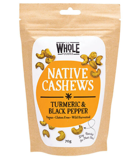 Dry Roasted Cashews - Turmeric Black Pepper 70g - The Whole Foodies
