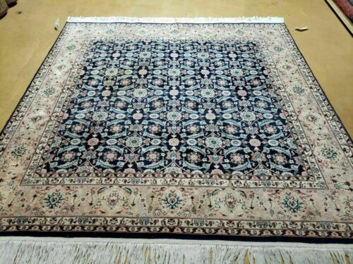6' X 6' Vintage Hand Made Persian Tab riz Wool Rug Harati Pattern SQUARE Carpet
